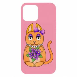Чехол для iPhone 12 Pro Max Girl cat with flowers