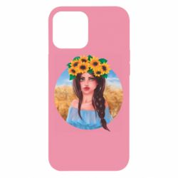 Чехол для iPhone 12 Pro Max Girl in a wreath of sunflowers
