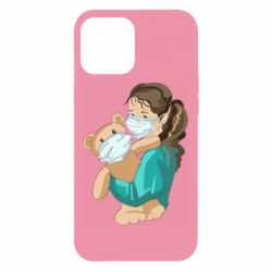 Чехол для iPhone 12 Pro Max Girl with a teddy bear in medical masks