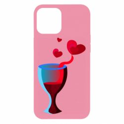 Чехол для iPhone 12 Pro Max Glass of wine and hearts