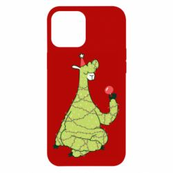 Чехол для iPhone 12 Pro Max Green llama with a garland