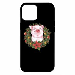 Чохол для iPhone 12 Pro Max Pig with a Christmas wreath