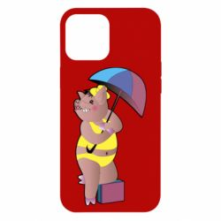 Чохол для iPhone 12 Pro Max Pig with umbrella