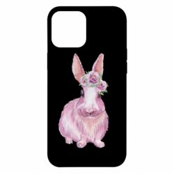 Чохол для iPhone 12 Pro Max Pink bunny with flowers on her head