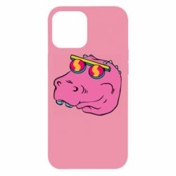 Чехол для iPhone 12 Pro Max Pink dinosaur with glasses