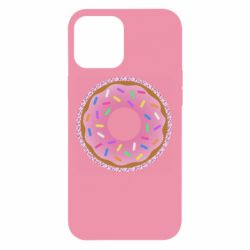 Чехол для iPhone 12 Pro Max Pink donut on a background of patterns