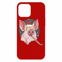 Чохол для iPhone 12 Pro Max Portrait of the pink Pig in a red Santa's cap