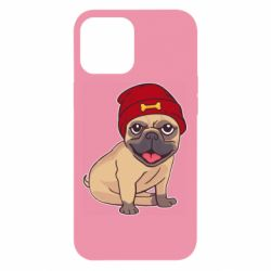 Чехол для iPhone 12 Pro Max Pug in a red hat