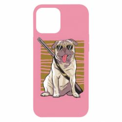 Чехол для iPhone 12 Pro Max Pug with a gun in glasses