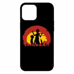 Чохол для iPhone 12 Pro Max Silhouette of Rick and Morty at Sunset