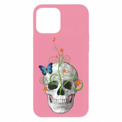 Чехол для iPhone 12 Pro Max Skull and green flower