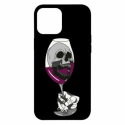 Чехол для iPhone 12 Pro Max Skull in a glass of wine