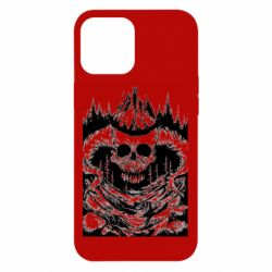 Чохол для iPhone 12 Pro Max Skull with horns in the forest