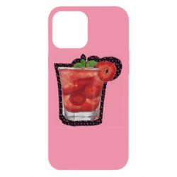 Чехол для iPhone 12 Pro Max Strawberry cocktail on a background of flowers