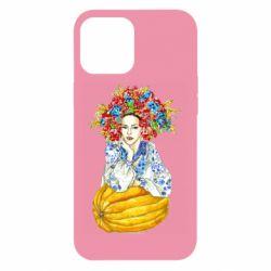Чохол для iPhone 12 Pro Max Українка в вінку і вишиванці