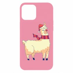 Чехол для iPhone 12 Pro Max Yellow llama in a scarf and red nose
