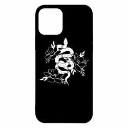 Чохол для iPhone 12 Pro Snake with flowers