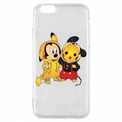 Чехол для iPhone 6/6S Mickey and Pikachu