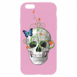 Чехол для iPhone 6/6S Skull and green flower