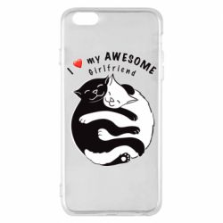 Чехол для iPhone 6 Plus/6S Plus Cats with red heart