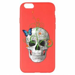 Чехол для iPhone 6 Plus/6S Plus Skull and green flower