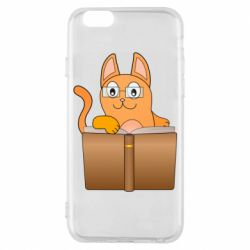 Чохол для iPhone 6S Cat in glasses with a book