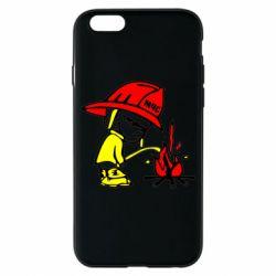 Чехол для iPhone 6S Писающий хулиган-пожарный