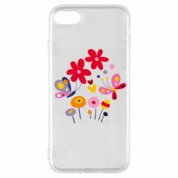 Чехол для iPhone 7 Flowers and Butterflies