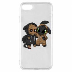 Чехол для iPhone 7 Groot And Toothless