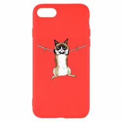 Чехол для iPhone 7 Grumpy Cat On The Rope