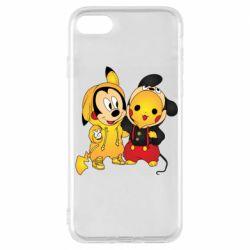 Чехол для iPhone 7 Mickey and Pikachu