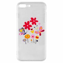 Чехол для iPhone 7 Plus Flowers and Butterflies