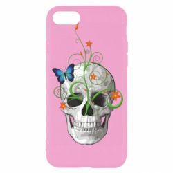Чехол для iPhone 7 Skull and green flower