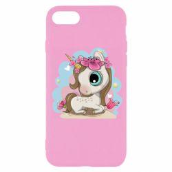 Чохол для iPhone 7 Unicorn with flowers