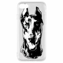 Чохол для iPhone 8 Доберман чорний