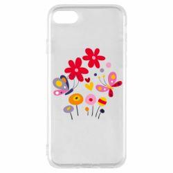 Чехол для iPhone 8 Flowers and Butterflies