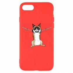 Чехол для iPhone 8 Grumpy Cat On The Rope