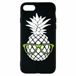 Чехол для iPhone 8 Pineapple with glasses