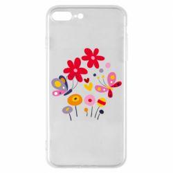 Чехол для iPhone 8 Plus Flowers and Butterflies