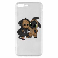 Чехол для iPhone 8 Plus Groot And Toothless
