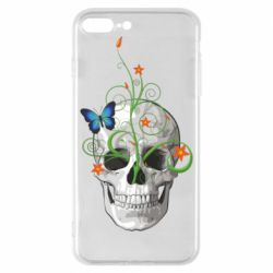 Чехол для iPhone 8 Plus Skull and green flower