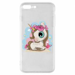 Чохол для iPhone 8 Plus Unicorn with flowers