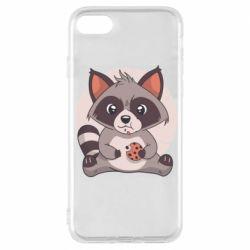 Чохол для iPhone 8 Raccoon with cookies