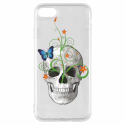 Чехол для iPhone 8 Skull and green flower