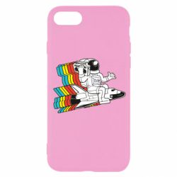 Чохол для iPhone SE 2020 Astronaut on a rocket with a tape recorder