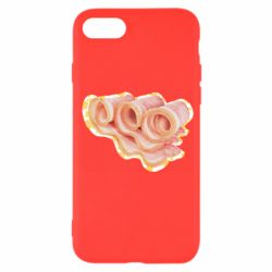 Чехол для iPhone SE 2020 Bacon with flowers on the background