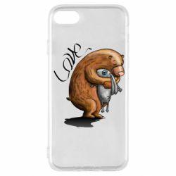 Чехол для iPhone SE 2020 Bear hugs a hare