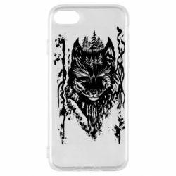 Чехол для iPhone SE 2020 Black wolf with patterns
