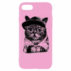 Чохол для iPhone SE 2020 Cat in glasses and a cap