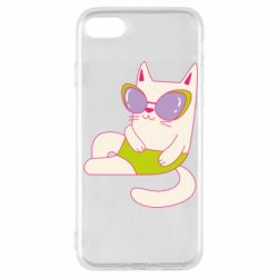 Чехол для iPhone SE 2020 Cat in modern glasses